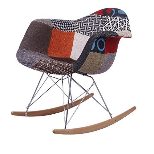 CJH doek schommelstoel vrije tijd volwassen slaapkamer studie enkele balkon ligstoel ijzeren beugel massief houten voet stoel