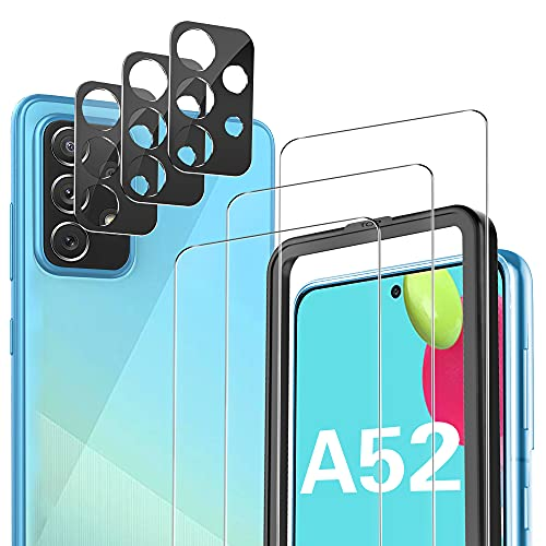 [3+3 Pack] IVSO Screen Protector and Camera Lens Protector Compitable with Samsung Galaxy A52 4G / 5G,[Anti Scratch][Bubble Free][Case Friendly] Tempered Glass Screen Protector for Samsung Galaxy A52