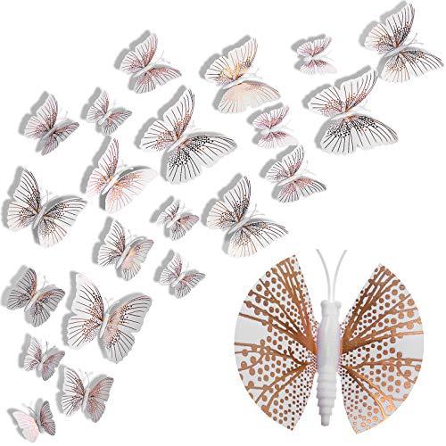 48 Pièces 3D Stickers Muraux de Papillon Paillettés Autocollants Muraux de Papillon Amovibles Autocollants de Papillon Décoratifs Autocollant Mural de Papillon Bling Animé (Or Rose)