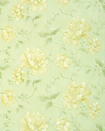 3D Blumentapete EDEM 748-38 Floral Landhaus Tapete Blumen hochwertige Prägequalität gelb hell-grün zitronengelb