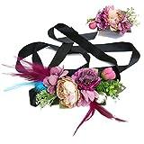 Ever Fairy moda flor cinturones de flores Conjunto de peine de pelo para mujer niña dama de honor vestido de satén cinturón boda fajas cinturón de la pluma tela elástica cinturón accesorios (B)