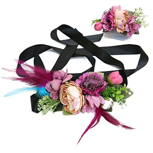 Ever Fairy moda flor cinturones de flores Conjunto de peine de pelo para mujer...