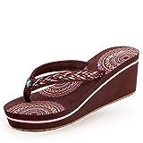 JYDAN Mujeres Chanclas De Cuña Zapatos Tacón Sandalias Playa Pantuflas Plataforma,Brown,37