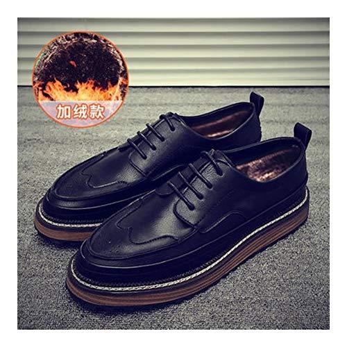 Best-choise Brogue Zapatos de Talla for los Hombres Oxfords clásicos con Cordones de Negocios de Cuero Genuino Wingtip Plana Baja Superior Antideslizante Transpirable Llamativo