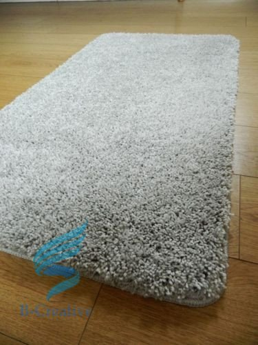 B-Creative Suave Plain Shaggy Mats Lavable Antideslizante Grande pequeñas Dormitorio alfombras Corredores UK, Plateado, 66x120cm (2'2'x4')