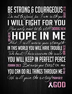 Be Strong & Courageous: Breast Cancer Awareness notebook, Christian Bible Verse Journal, Wide-ruled lining, 8.5 x 11 inches (Inspired Notebooks)