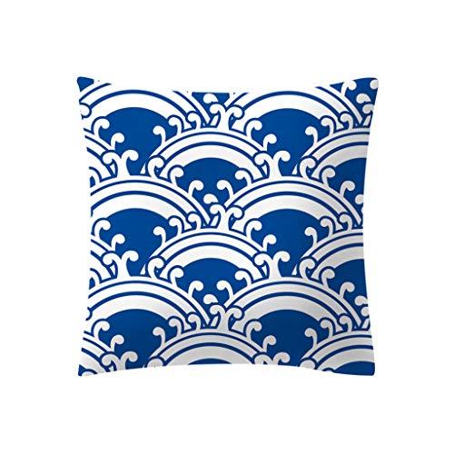 Transwen - Cojín para casa de poliéster, para sofá, a rayas, cojín geométrico, cojín de plumón, N, 45 x 45 cm