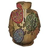 Turtle Printed Hooded Sweatshirt Three Turtles Ornamental for Men/Women