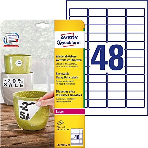 AVERY Zweckform L4778REV-20 Wetterfeste Folien-Etiketten, wiederablösbar (45,7x21,2 mm auf DIN A4, selbstklebend, bedruckbare Outdoor Klebefolie) 960 Aufkleber auf 20 Blatt weiß