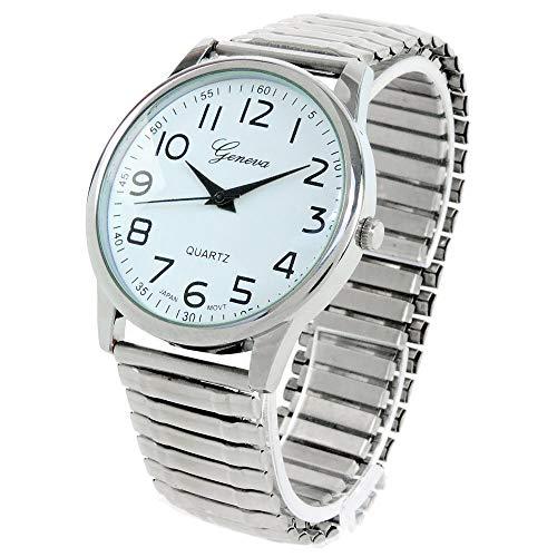 Orologio da polso con cinturino elasticizzato, facile da leggere, colore: argento
