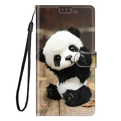 Hülle Leder für Samsung Galaxy A7 2018 Handyhülle, Niedliches Muster Klapphülle Lederhülle mit [360 Grad Stoßfest] [Kartenfachr] Schutzhülle Klappbar Flip Hülle Cover - Panda