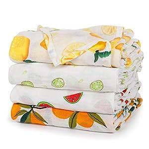 crib bedding and baby bedding baby swaddle blanket upsimples unisex swaddle wrap soft silky bamboo muslin swaddle blankets receiving blanket for boys and girls, 47 x 47 inches, set of 4-lemon/kiwi fruit/watermelon/orange