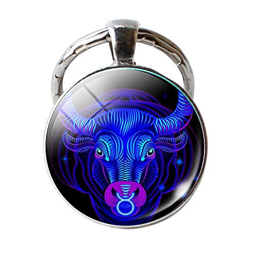 Christmas Gifts for Family,Zodiac Keychain Unique Statement Jewelry Fashion Metal Under 5 Dollars Key Rings 5-Taurus