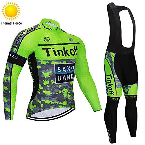 TOPBIKEB Heren fietskleding set met lange mouwen voor de winter, thermofleece fietsshirt met lange koersbroek voor MTB