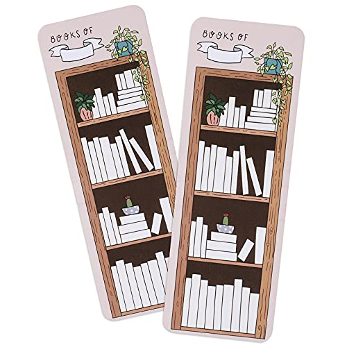 50 Pieces Book Tracker Bookmarks Paper Double-Sided Bookmark Page Markers Book Markers Set for Students Reading