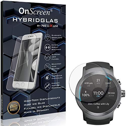 OnScreen Schutzfolie Panzerglas kompatibel mit LG Watch Sport Panzer-Glas-Folie = biegsames HYBRIDGLAS, Bildschirmschutzfolie, splitterfrei, MATT, Anti-Reflex - entspiegelnd