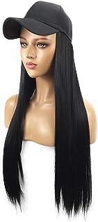 Wig Bangs LLLNHQ Street Fashion Lady Wig Hat One-piece Hat Wig Long Straight Hair Hat 62cm Black Wig Cap