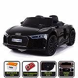 Voiture de sport électrique 12V pour enfant Audi R8 Spyder Cristom -Télécommande 2.4Ghz- Slot USB et prise MP3 - Licence Audi (noir)