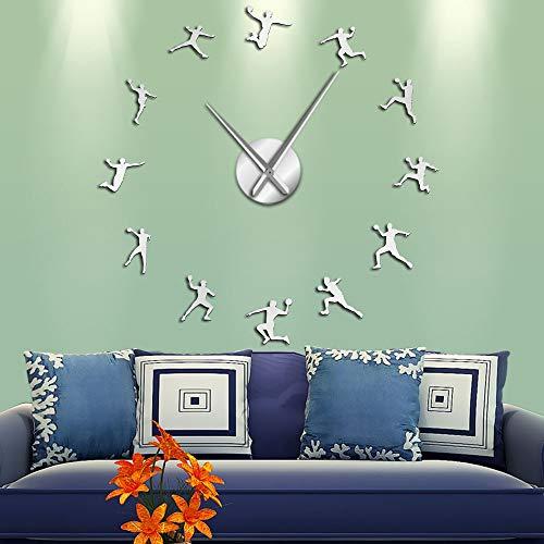 WALL CLOCK Pegatinas de espejo de silueta de acrílico para jugadores de balonmano DIY arte de pared gigante adolescente habitación deportes decoración