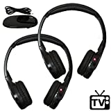 Autotain [2 Pack] Best Wireless RF Headphones for TV Watching - FM Stereo, Kid Size, Adult Size, Dual Channel Cloud