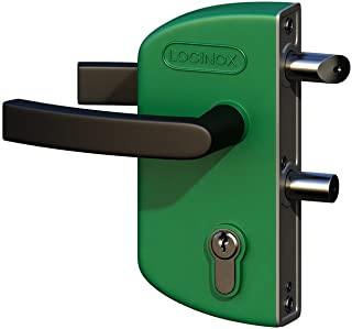 Green LAKZ P1 Economical garden/pedestrian gate lock with polyamide housing and stainless steel mechanism by LOCINOX