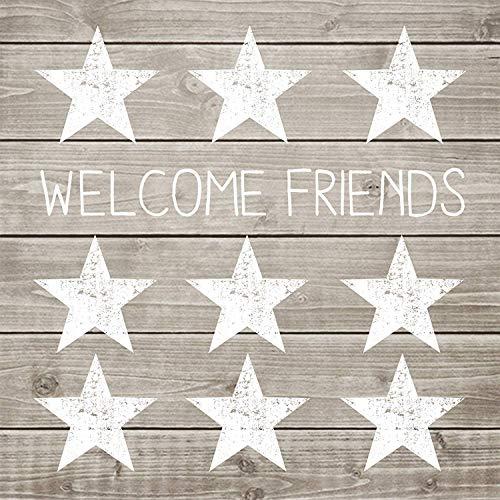 PPD Welcome Friends Serviettes, 20 Pièces, Serviettes de Table, Papier, Taupe / Blanc, 33 x 33 cm, 1332005