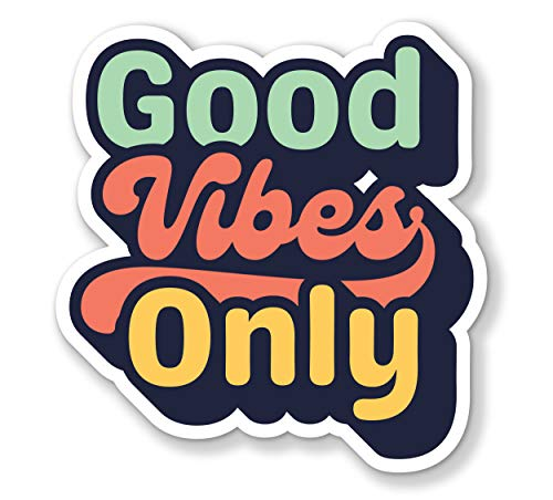 Vintage Good Vibes Only Decal Bumper Sticker for Cars, Cups, Laptops, Coolers (5 x5 )