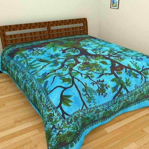 Majisacraft Housse de Couette Indienne pour décoration d'intérieur, Couvre-lit, Couvre-lit, couvertures bohémiennes, Housse de Couette et 2 taies d'oreiller