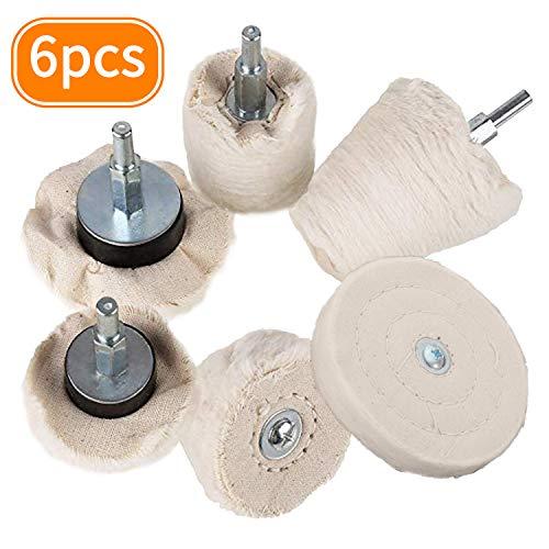 Rueda de pulido para taladro, Aobetak 6 unidades de almohadillas de compuesto de pulido con mango de 1/4 pulgadas para herramienta de pulido, kit de almohadilla pulidora para coche