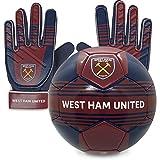 West Ham United FC - Juego Oficial de Guantes de Portero y balón de Talla 4 - para niño - Adolescentes: 10-16 años
