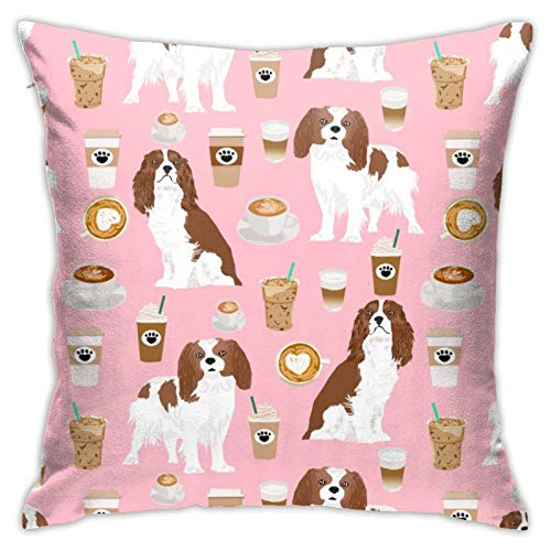 87569dwdsdwd Cavalier King Charles Spaniel Coffee Spaniel Dog Dogs (1) Square Pillow Case Home Sofa Decorative 18' X 18'Inch Ultra Soft Comfortable