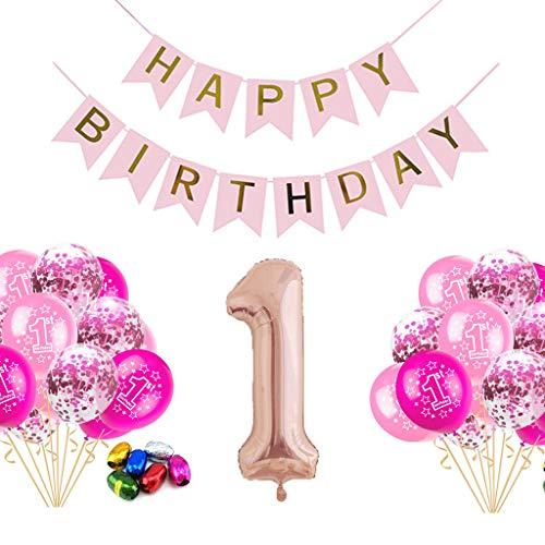 Crazy-m 1 Geburtstag Dekorationen, erste Geburtstag Party für Mädchen Hen Party Dekoration Konfetti Latex Luftballons Rosegold Happy Birthday Garland Bunting Banner Luftballons Dekorationen