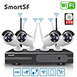 Sistema de cámara de vigilancia inalámbrica Sistema de cámara de vigilancia Kit, con visión Nocturna,1080p 4CH NVR con 1TB HDD para hogar/Oficina