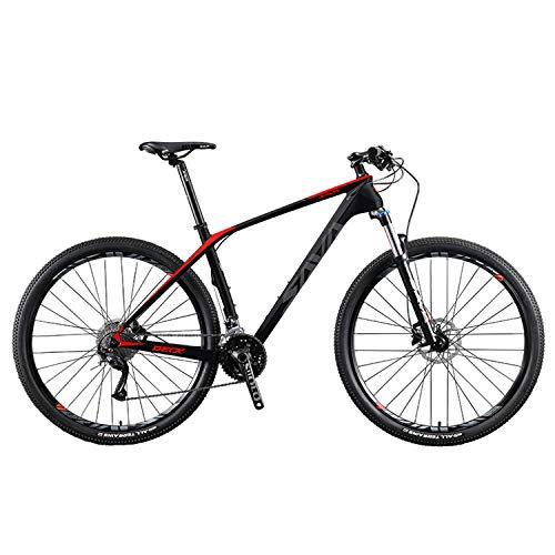 """SAVADECK DECK2.0 Mountain bike in fibra di carbonio, MTB 26""""/ 27,5"""" / 29""""Bicicletta da montagna con coda rigida completa a 27 velocità con gruppo M2000 (Nero rosso, 29 * 15)"""