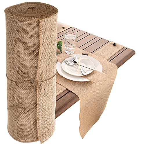 Designer Burlap Table Runner - for Farmhouse-Style Dining Room - Woven Jute Fabric Placemats or Centerpieces - Rustic Home Decor for Coffee, Tea, & Outdoor Tables - Long Roll, 14 Inches x 10 Yards