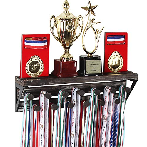 J JACKCUBE DESIGN Rustic Trophy Display Shelf with Medal Hangers, Wall Mount Display Shelf with 13 Hooks for Sports Award Medals Trophies - MK670A
