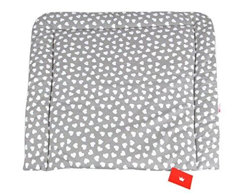 BABYLUX Wickeltischauflage Wickelauflage Baby Wickeltisch 50x70 70x70 80x70 (80 x 70 cm, 95 - Herzen Grau)