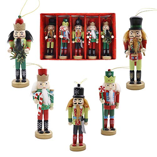 Christmas Nutcracker Ornaments Set, 5PCS Wooden Nutcracker Soldier Hanging Decorations for Christmas Tree Figures Puppet Toy Gifts