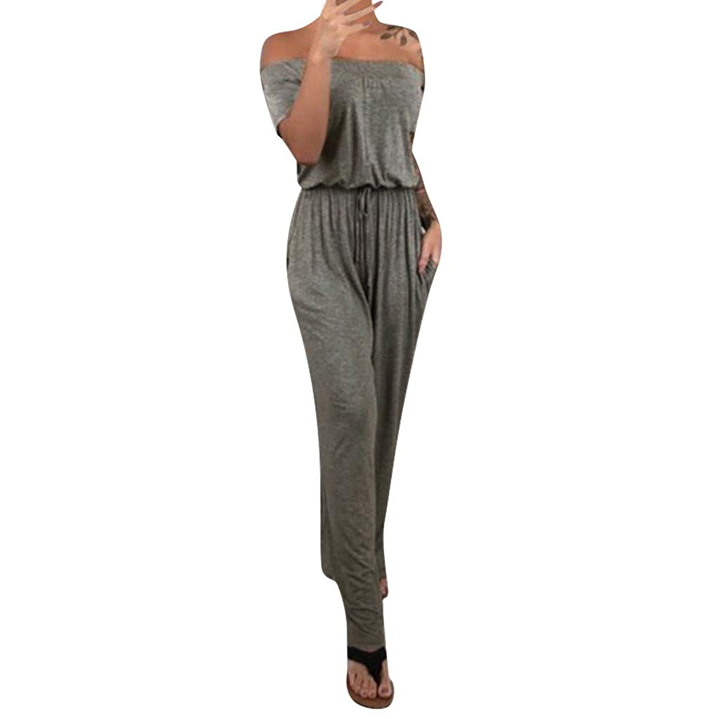 lendly Women's Sexy Romper Off Shoulder Jumpsuit Casual Strapless Wide Leg Pants Playsuits Summer Casual Overolls