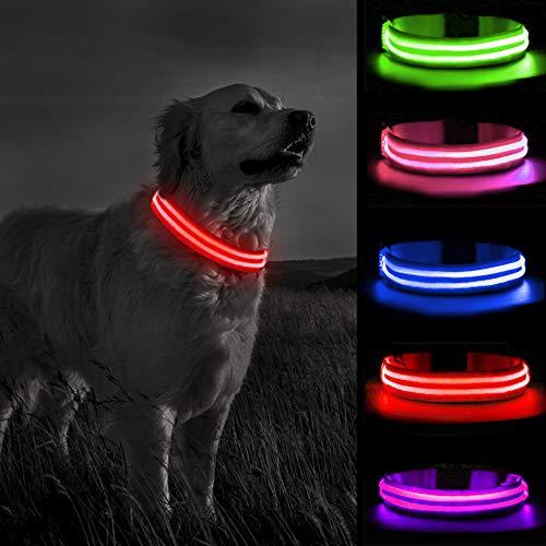 MELERIO Collar Luminoso Perro de Mascota 3 Modos Collar Perro Luz con Recargable y Impermeable, Ajustable Collares LED para Perros Pequeños/Medianos/Grandes