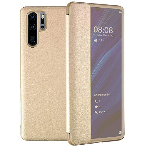 Oihxse Compatible pour Samsung Galaxy S8 Coque Ultra-Mince Portefeuille View Flip Stand PU Cuir Housse Antichoc Affaires 360°Protection Etui pour Galaxy S8 (d'or)