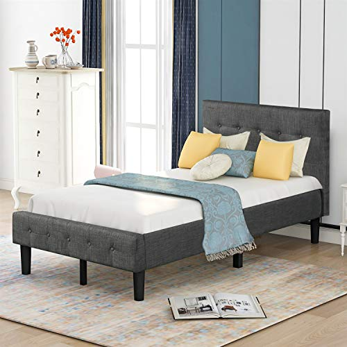 JNBJNB Upholstered Button Tufted Platform Bed Frame with Headboard and Strong Wood Slat Supports/Mattress Foundation/No Box Spring Needed/Easy Assembly, Twin (Color : Gray, Size : Twin)