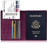 Fintie Porta Passaporto da Viaggio Portafoglio con Protezione RFID per Carte di credito ID Documenti Custodia - Porpora
