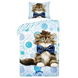 Animal Club gato gatito ropa de cama de funda nórdica de 140x 200+ funda de almohada 70x 90Idea Déco 100% algodón