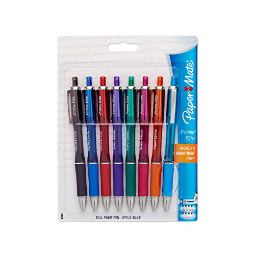 Paper Mate Profile 1776385 Elite Retractable Ballpoint Pens, Ultra Smooth Ink, Reliable and Fluid 1.4mm Bold Tip, Assorted Color, 8 Count