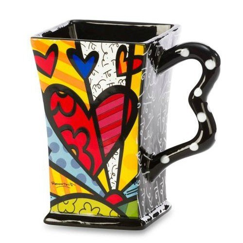 Romero Britto Ceramic Square Mug Heart