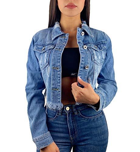 Worldclassca Damen Crop Jeansjacke Jeans MIT Rissen Sommer Jacket Vintage KURZ Button Used WASH FRANSEN ÜBERGANGSJACKE Fashion Blogger DENIMWEAR BLAU Denim Destroyed Cut Out XS-XL (M, Blau)