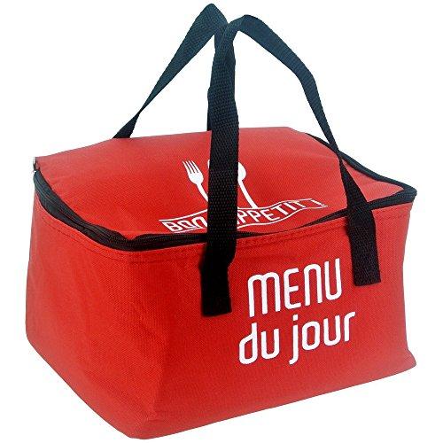 Promobo -Lunch Bag Sac Panier Repas Fraicheur Isotherme Menu Du Jour Rouge