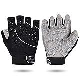 Weight Lifting Gym Gloves Microfiber & Anti-Slip Silica Gel Grip Padded Workout Gloves for Weightlifting, Cross Training, Gym, Fitness, Bodybuilding Men & Women (Black, Medium)