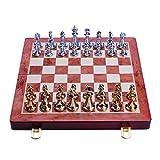 REAPP Tablero de Damas Piezas de ajedrez de aleación de Zinc clásico Tablero de Grano de Madera Juego de ajedrez de Ocio al Aire Libre Entretenimiento Oro Chess Qénuesson
